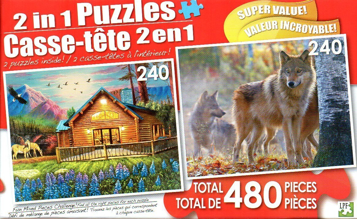 Cozy Cabin & Timber Wolf Pack on a Cool Fall Morning - Total 480 Piece 2 in 1 Jigsaw Puzzles