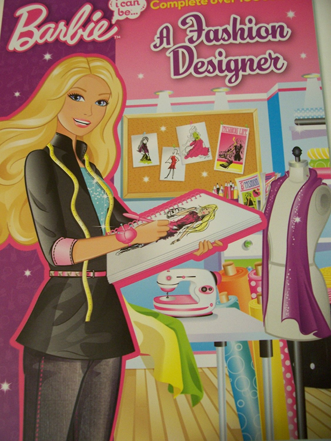 """Barbie Educational Paperback ~ I Can Be a Fashion Designer (8"""" x 11). Coloring Book"""