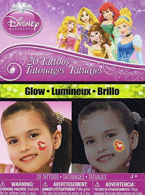 Disney Princess 20 Glow Temporary Tattoos - 20 Tattoos By Savvi
