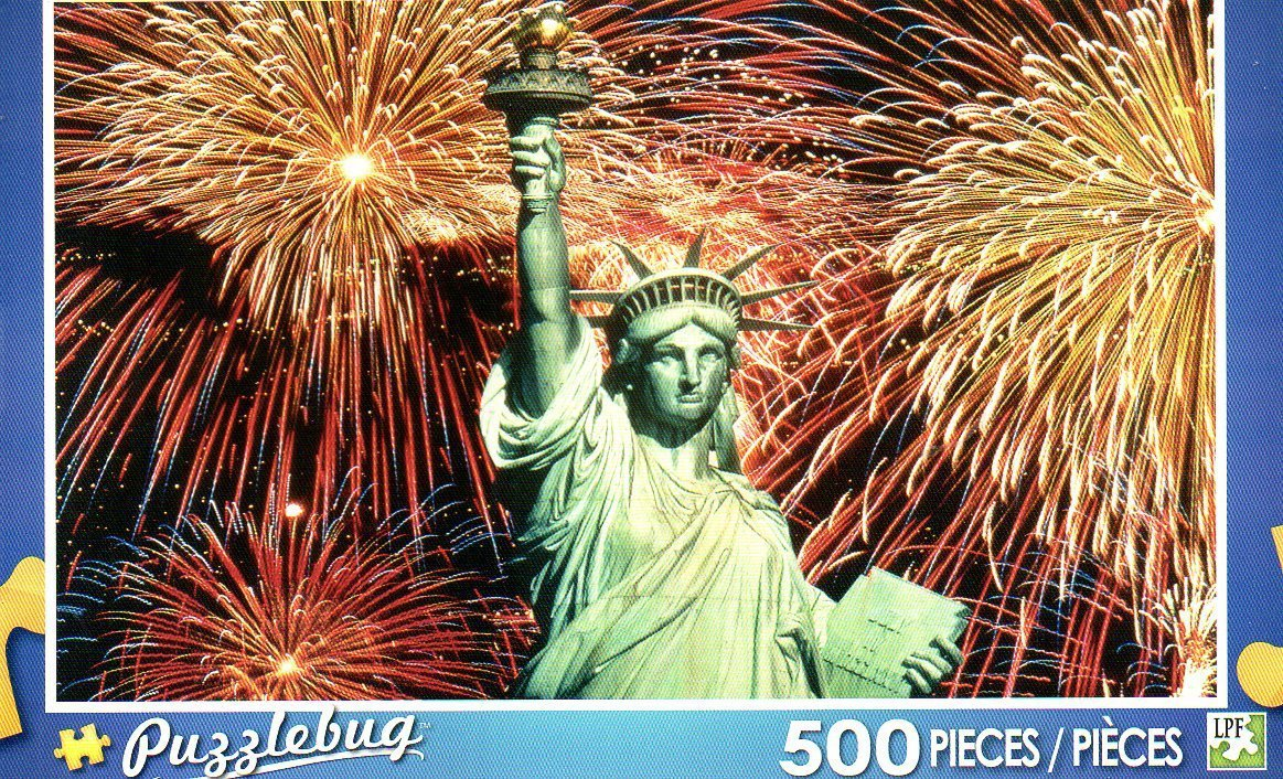 Puzzlebug ~ Fireworks Behind the Statue of Liberty - 500 Piece Puzzle by LPF