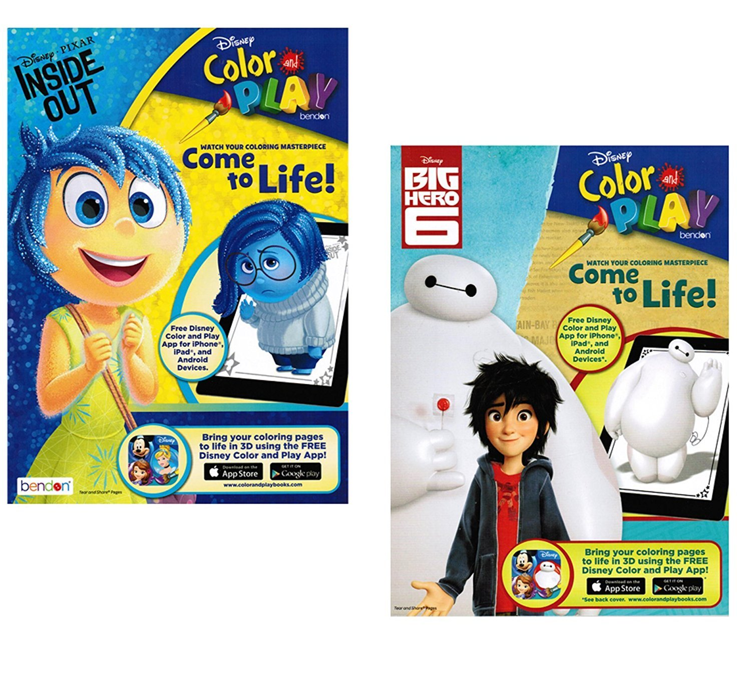 Disney Color and Play Big Hero 6 and Inside Out Coloring Book Set