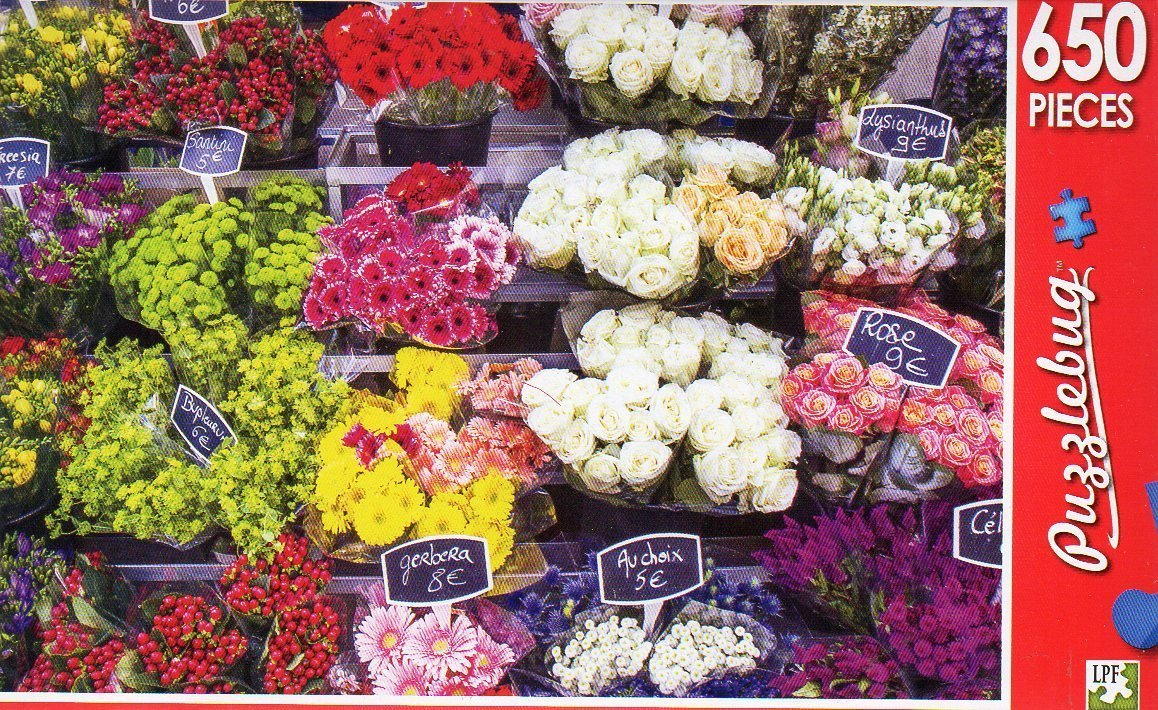 Paris Flower Stand, France - Puzzlebug - 650 Pieces Jigsaw Puzzle