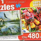 Morning Light / Mini Dutch Wooden Shoe Souvenirs - Total 480 Piece 2 in 1 Jigsaw Puzzles