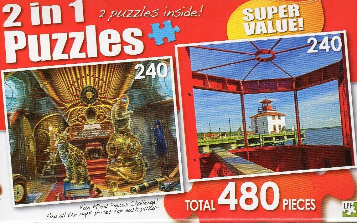 Nautilus / Pictou Waterfront Lighthouse, Nova Scotia - Total 480 Piece 2 in 1 Jigsaw Puzzles
