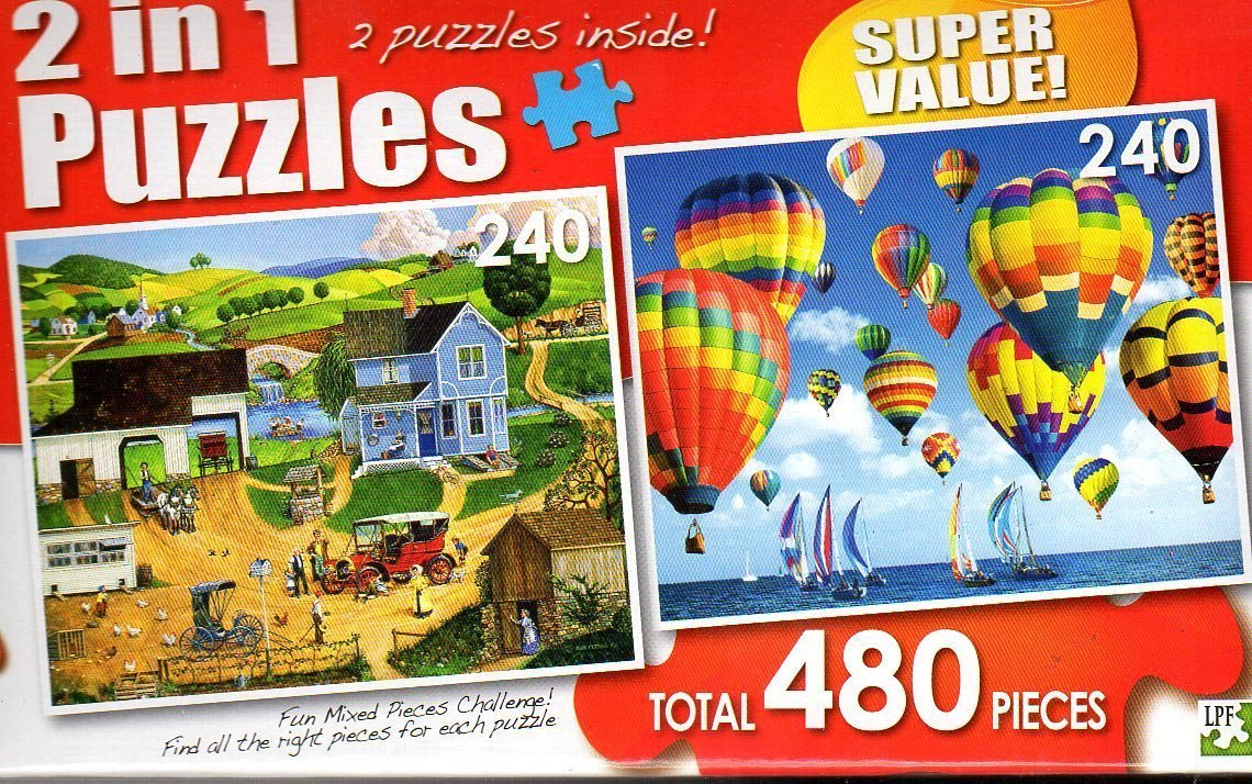Stay For Dinner / Balloons and Boats - Total 480 Piece 2 in 1 Jigsaw Puzzles