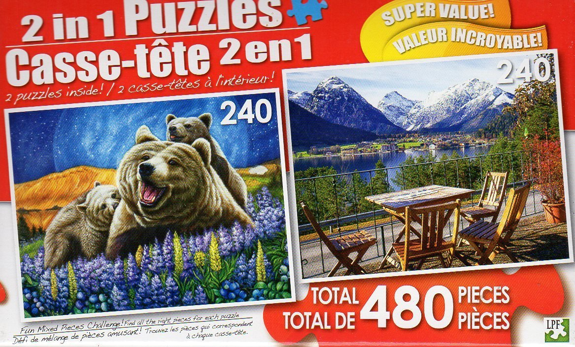 Blueberry Bears / Tables and Chairs at a Café in Germany - Total 480 Piece 2 in 1 Jigsaw Puzzles