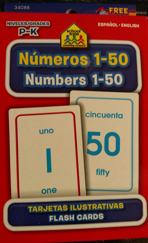 School Zone Bilingual Spanish English Numbers Numeros) 1-50 Flash Cards Grades P-K