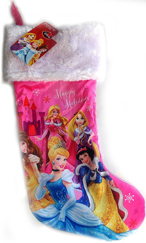 "Disney's 18"" Full Printed Satin Christmas Stocking with Plush Cuff (Disney Princess)"