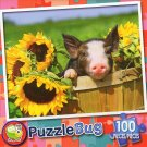 Sunny Flower Pig  - Puzzlebug 100 Piece Jigsaw Puzzle