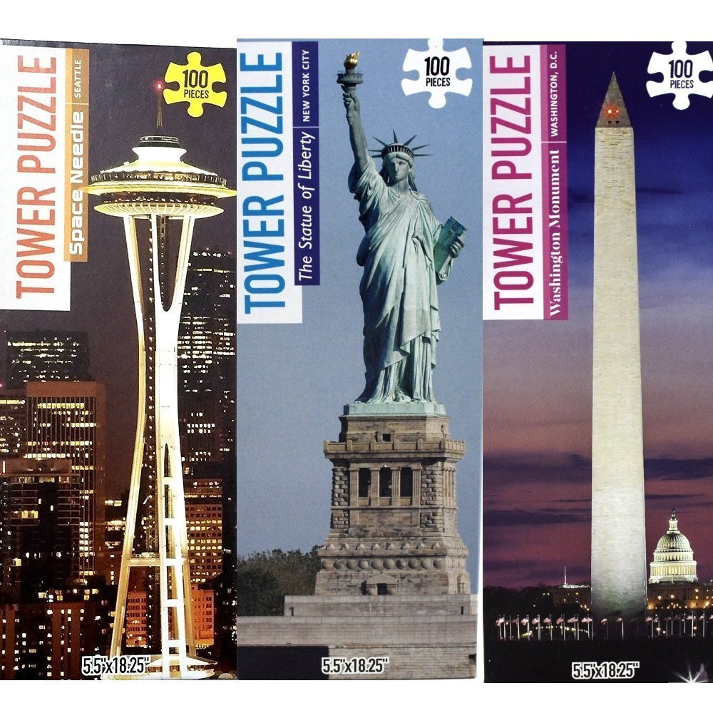 Statue of Liberty, Washington Monument, Space Needle - Jigsaw Puzzle 100 Piece