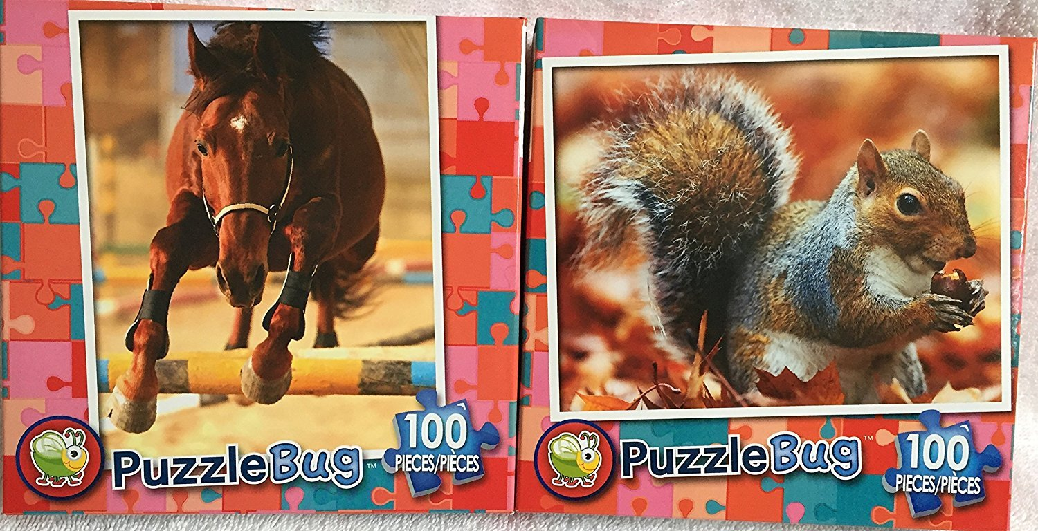 Bundle of Two Puzzlebug 100 Pieces Jigsaw Puzzles: Show Horse ~ Squirrelly Squirrel