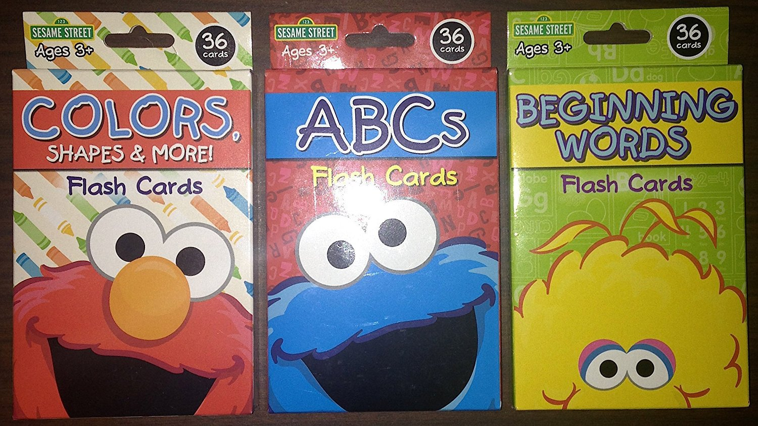 Sesame Street Colors Shapes & More, ABCs, and Beginning Words Flash Card 3 Sets Bundle