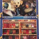 2 Puzzlebug 500 Piece: Labrador Puppy Playing in Duck Decoys ~ Rows of Colorful Cowboy Boots