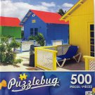 PuzzleBug 500 Piece Puzzle - Colorful Resort Huts by LPF