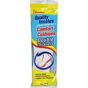 Comfort Cushions Double Thickness Insoles - Men's Size 11-12, One Pair,(Premier Brands)