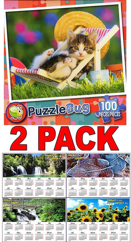 Lounging Around - 100 Piece Jigsaw Puzzle Puzzlebug + Free Bonus 2017 Magnetic Calendar