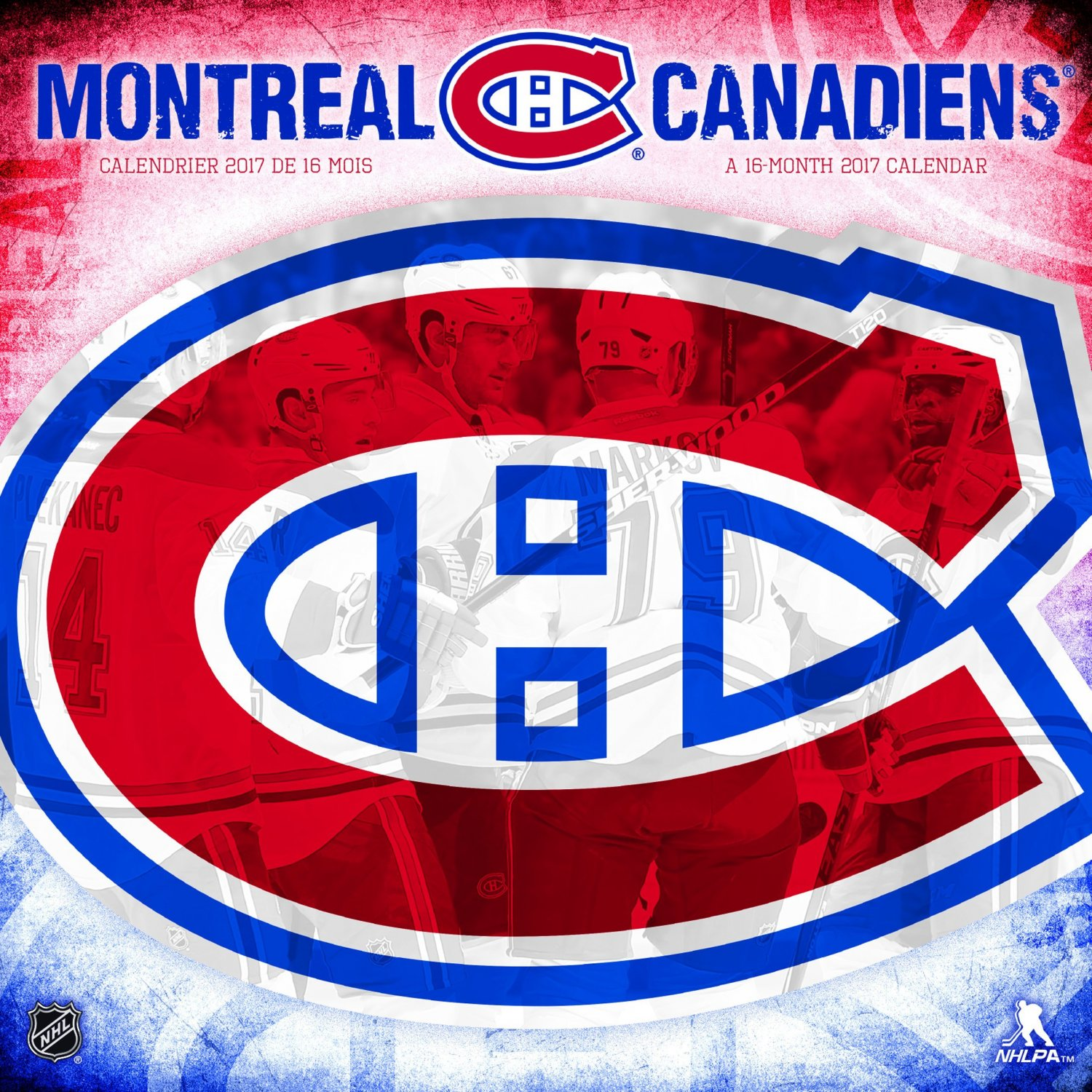 "2017 Wall Calendar, September 2016 - December 2017, 11.5"" x 11.5"", NHL Montreal Canadiens"