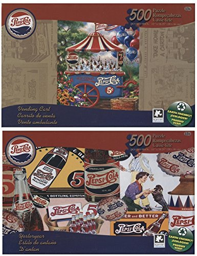 Pepsi-Cola Vintage 500 Piece Puzzle Collection -Vending Cart and Yesteryear (2 Pack)