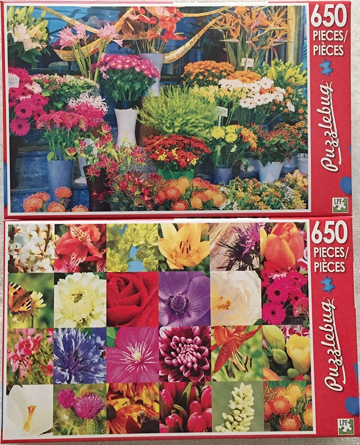 Bundle of 2 Puzzlebug 650 Piece Puzzles by LPF: Beautiful Market Flowers ~ Summer Flowers Collage