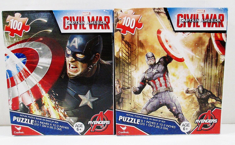 2 Jigsaw Puzzles - 100 Pieces Each - Captain America - Civil War