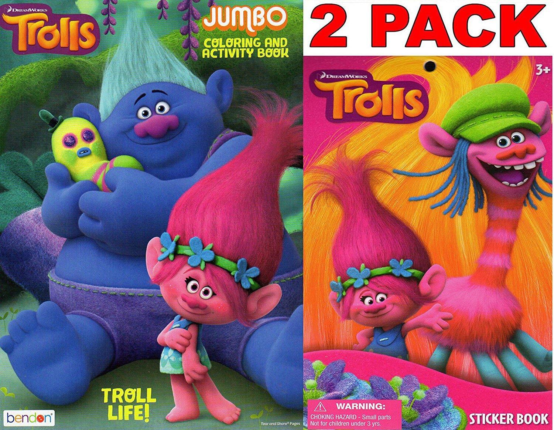 Dreamworks Trolls - Trolls Life - Jumbo Coloring and Activity Book + Trolls Sticker Book (2 Pack)