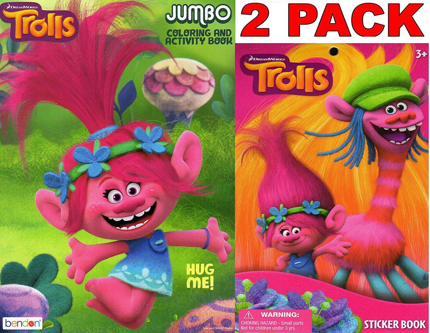 Dreamworks Trolls - Hug Me - Jumbo Coloring and Activity Book + Trolls Sticker Book (2 Pack)