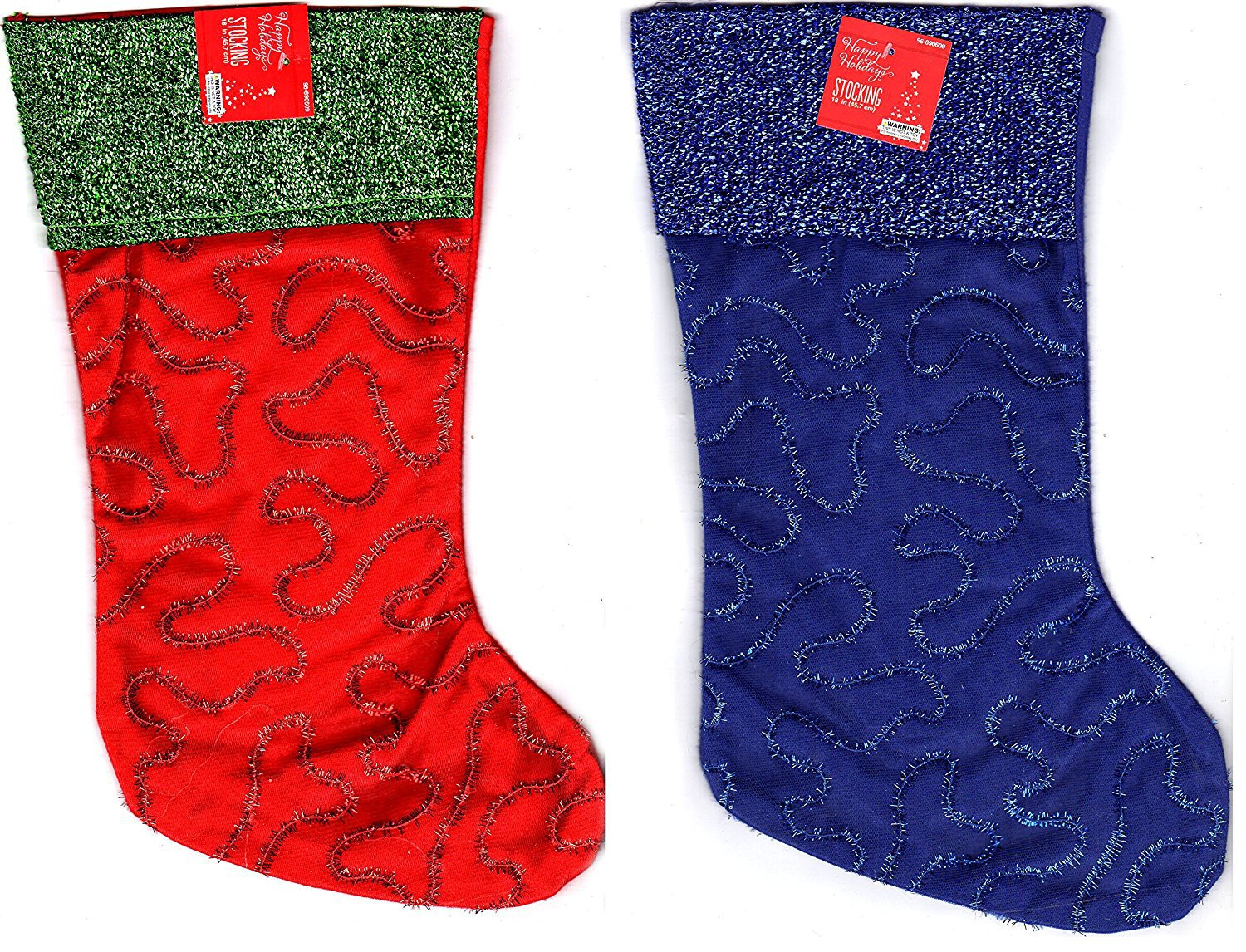 Set of 2 - Christmas Holiday Embroidered Felt Stockings, 18 Inch - v3
