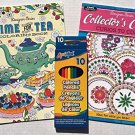 Coloring Books - Time for Tea and Collectors Corner -- Set of 10 Colored Pencils Included