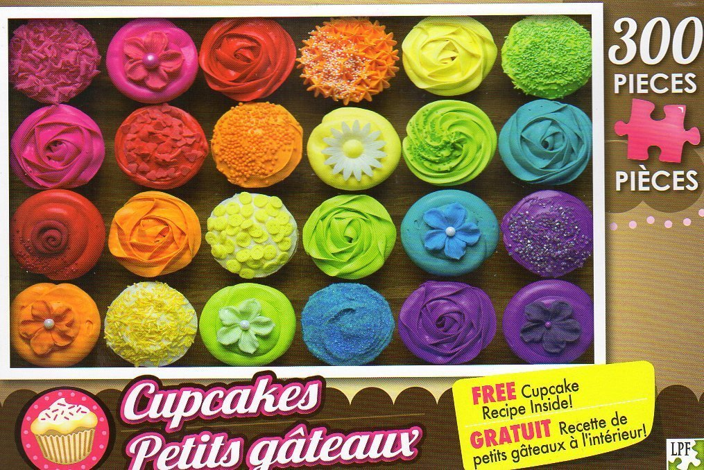 Rainbow Cupcakes - 300 Pieces Jigsaw Puzzle + Free Cupcake Recipe Inside by LPF Puzzle