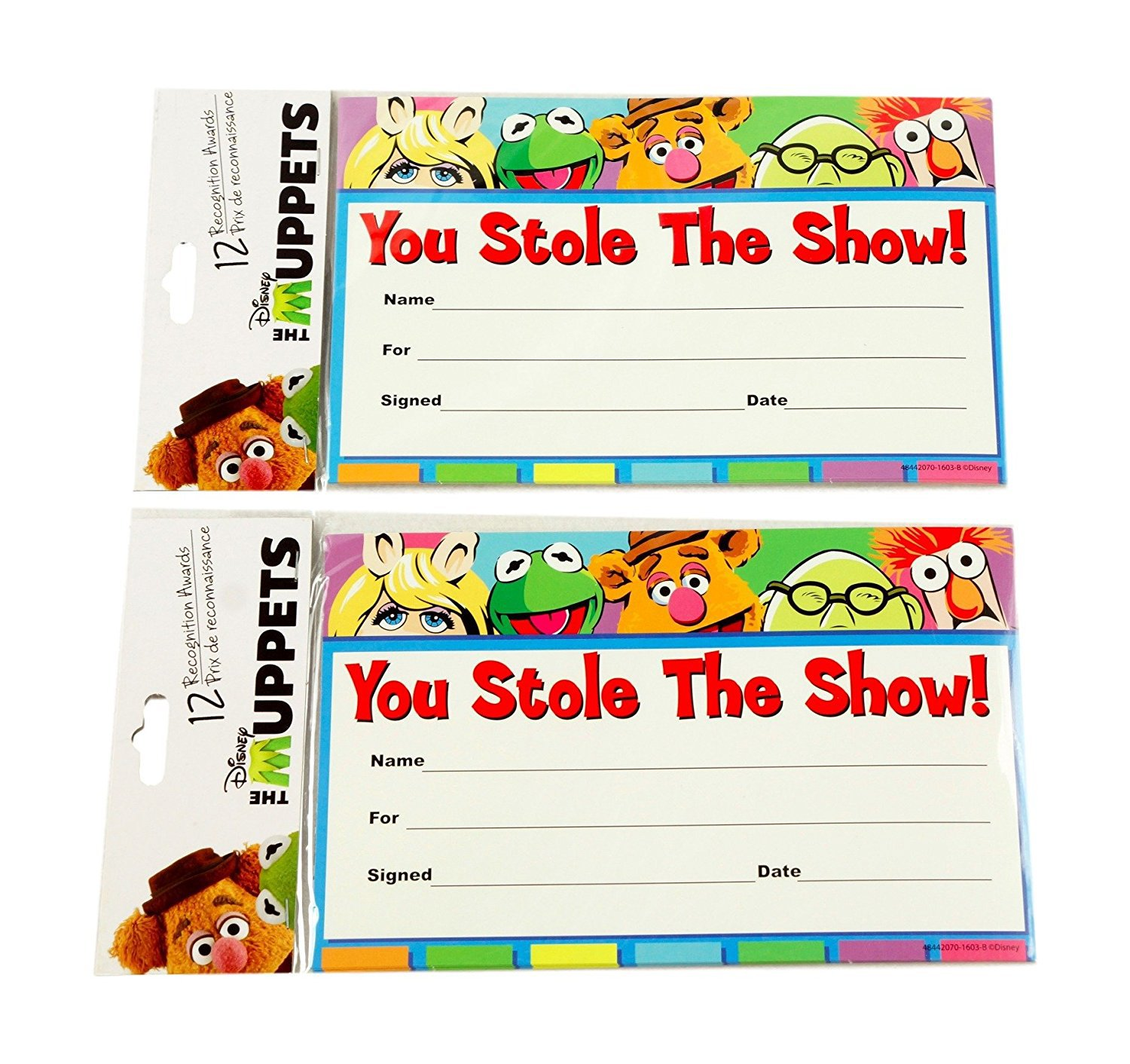 Disney Muppets Recognition Awards Bundle- 2 Packs of 12 8x5 awards