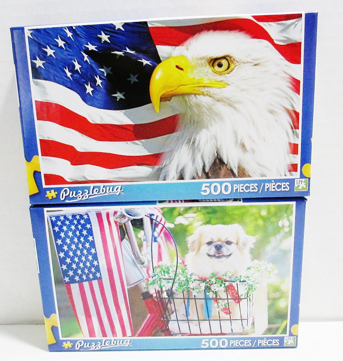 2 Puzzlebug Jigsaw Puzzles - 500 Pieces Each - American Eagle & All American Pup