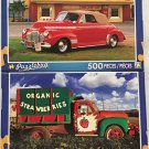 2 Puzzlebug 500 Piece Puzzles by LPF--1941 Red Chevy Convertible, Organic Strawberries Farm Truck