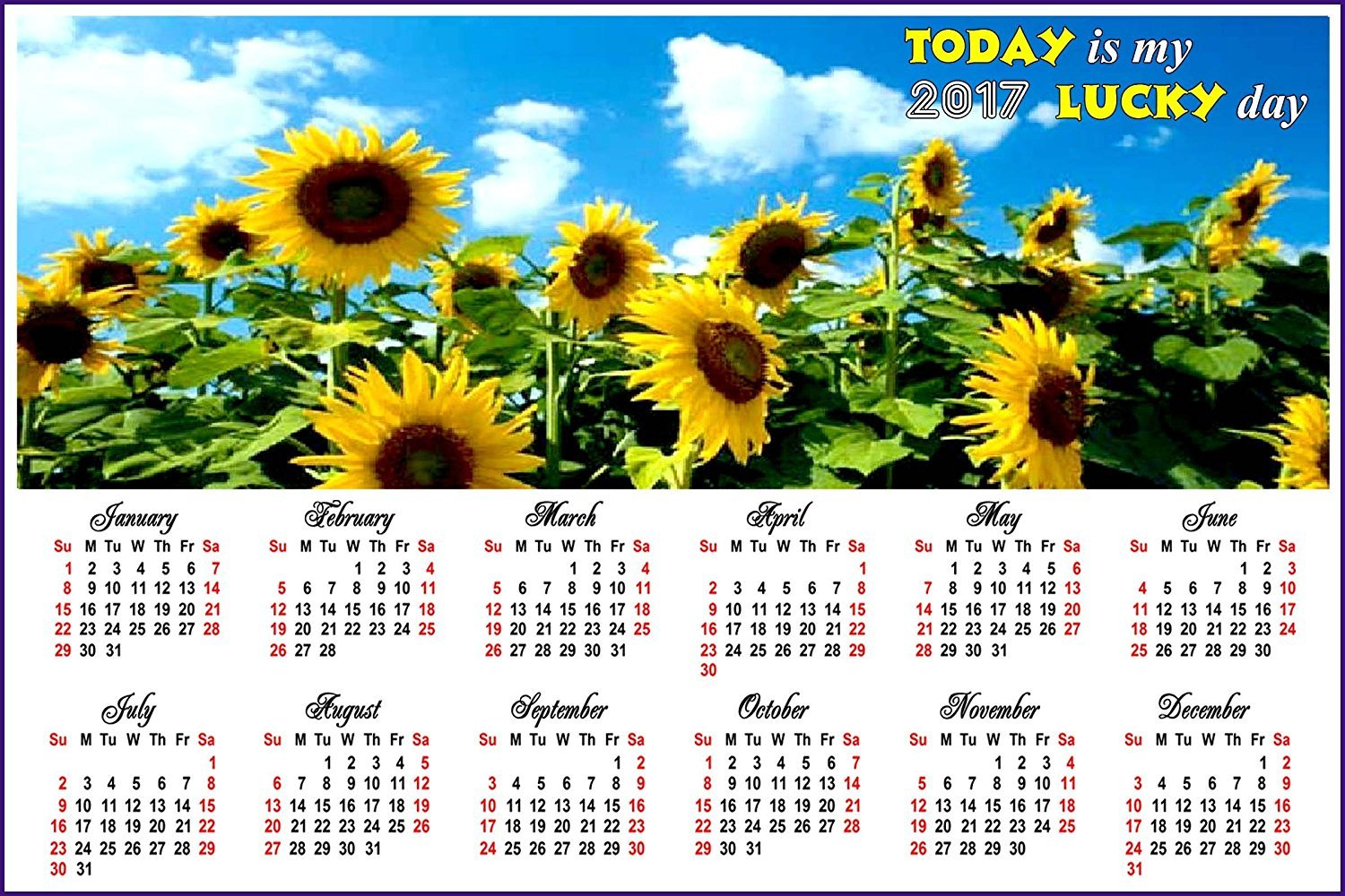 2017 Magnetic Calendar - Calendar Magnets - Today is my Lucky Day - Edition #5