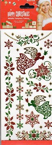 Nappy Christmas Metallic Temporary Tattoos - 1 sheet -v4