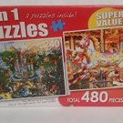 "2 in 1 PUZZLE 480 Piece ""Magic Kingdom"" & ""Fairground Carousel"""