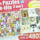 LPF 480 Piece 2-in-1 Puzzle ~ Jazzy Collage & Cats and Dogs (2 X 240pc Puzzles - Mixed in 1 Box)