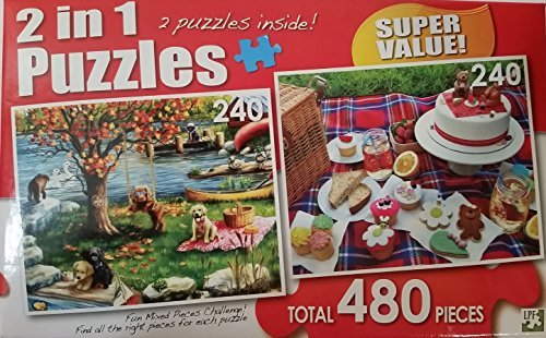 """2 IN 1 Puzzles """"First Fall & Cupcake Picnic"""" 480 Total Pieces"""