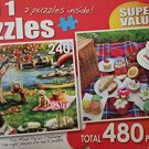 "2 IN 1 Puzzles ""First Fall & Cupcake Picnic"" 480 Total Pieces"