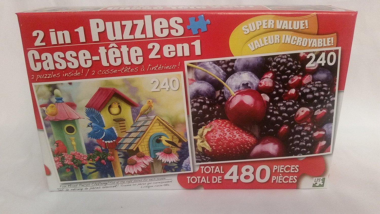 "2 in 1 PUZZLE 480 Piece ""Friendly Neighbors II"" & ""Juicy Berries"""