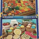 2 Puzzlebug 500 Piece Puzzles by LPF: Colorful Fruit Stand ~ Cupcakes Fresh from the Farm