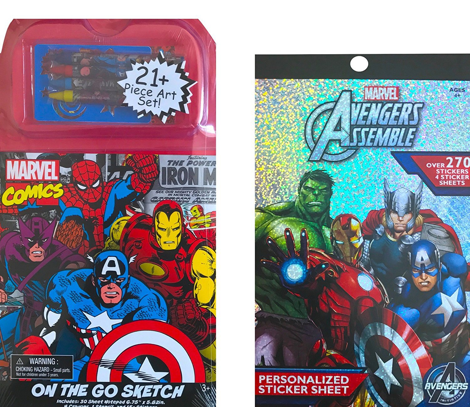 Marvel Avengers Comics Art On the Go Sketch 21Pc Art Set With Stickerbook 270 Stickers