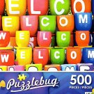 """Colorful """"Welcome"""" Pots - 500 Piece Jigsaw Puzzle Puzzlebug"""