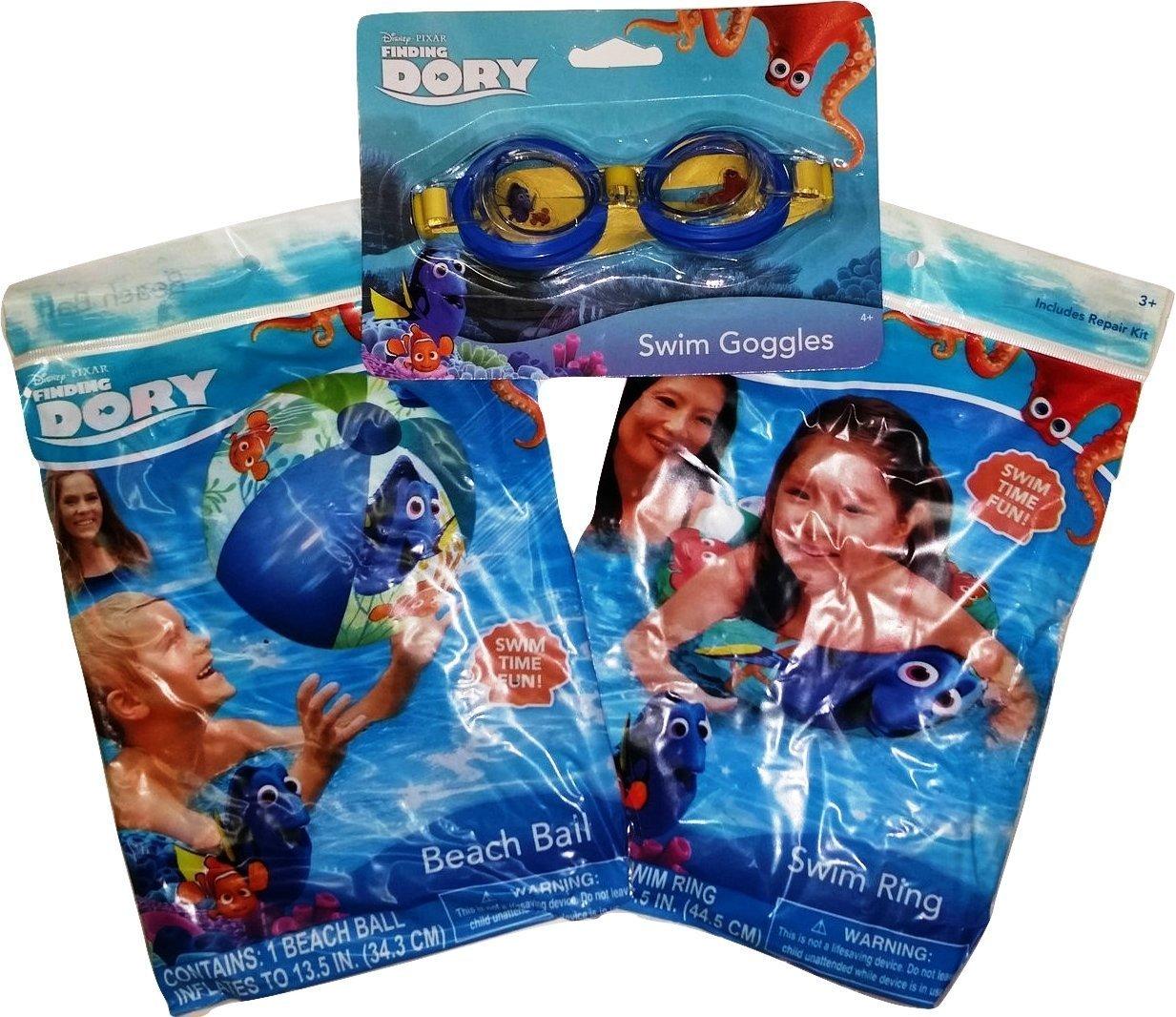 Disney Finding Dory Swim Goggles Beach ball and Swim Ring Bundle