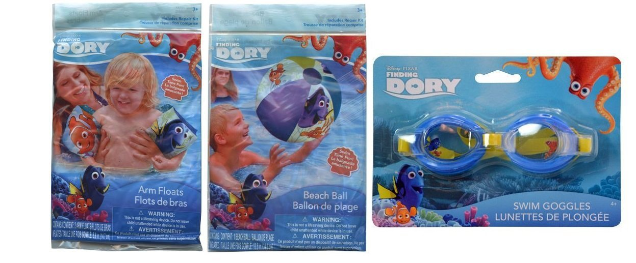 """Finding Dory Inflatable 20"""" Beach Ball, Goggles Plus Arm Floats Play Set"""
