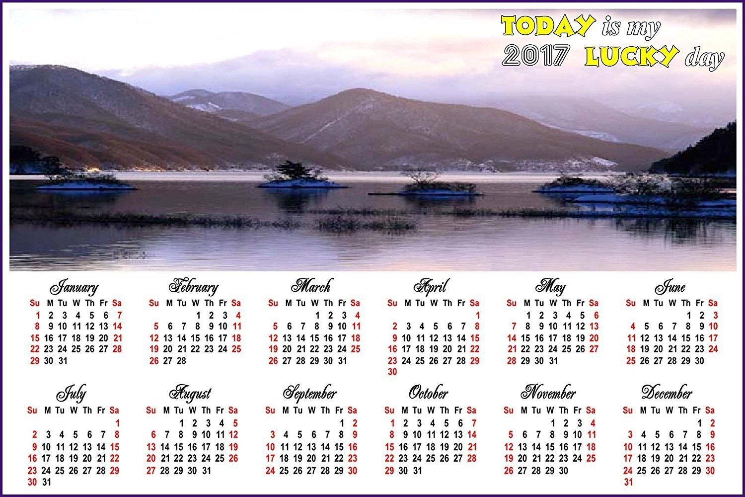 2018 Magnetic Calendar - Calendar Magnets - Today is my Lucky Day - v7