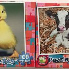 Bundle of Two Puzzlebug 100 Pieces Jigsaw Puzzles: Marching Duckling ~ Baby Dairy Cow