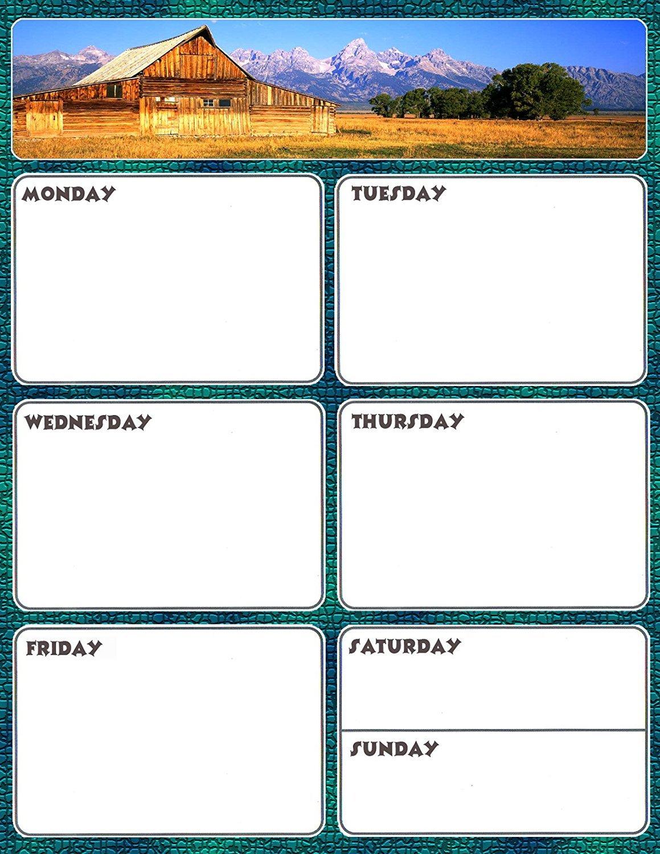 Magnetic Dry Erase Calendar - Weekly Planner / Locker Wallpaper - (Full sheet Magnetic) - v6