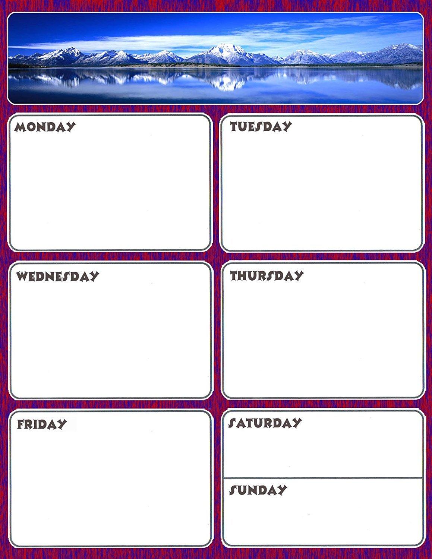 Magnetic Dry Erase Calendar - Weekly Planner / Locker Wallpaper - (Full sheet Magnetic) - v1