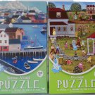 2 Old Time Americana Themed 500 Piece Puzzles Bundle: Heritage Easter Egg Hunt & Sailboat Village