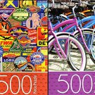 Bicycles Parking / Vintage Luggage - 500 Piece Jigsaw Puzzle (Set of 2 Puzzle)